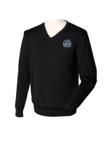 Henbury-HB720-12-Gauge-V-neck-Jumper-Black-logo