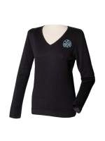 Henbury-HB721-Womens-12-Gauge-V-neck-Jumper-Black-logo