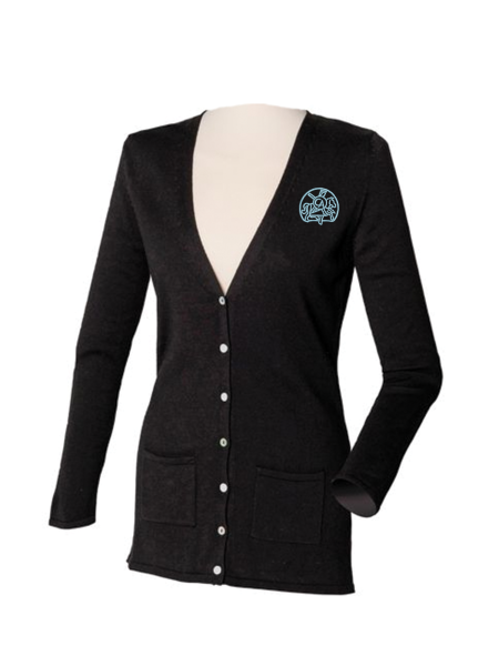 Henbury-HB723-Womens-V-Button-Cardigan-Black-logo