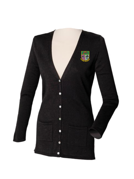 Henbury-HB723-Womens-V-Button-Cardigan-Black_Logo