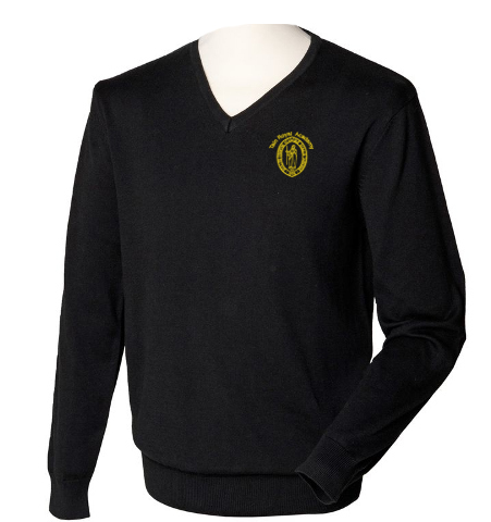 Henbury-HB720-12-Gauge-V-neck-Jumper-Black-1_logo