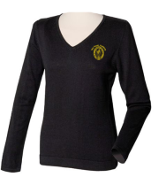Henbury-HB721-Womens-12-Gauge-V-neck-Jumper-Black-1_logo
