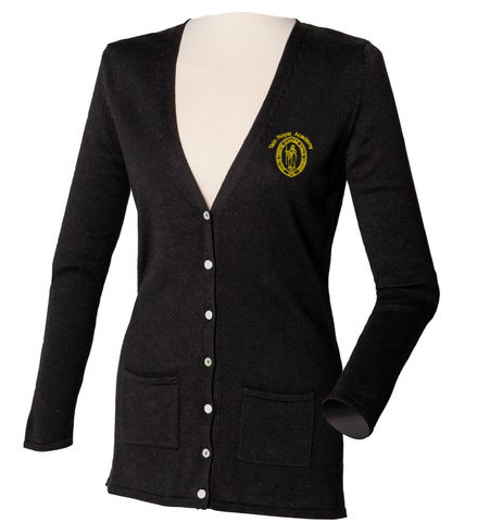 Henbury-HB723-Womens-V-Button-Cardigan-Black_logo