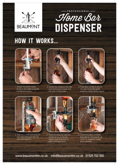 Home Bar dispenser- How it works. infographic showing you how to attach shelf clamp, and pour the measures.