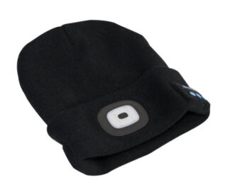 Beanie hat with LED and wireless headphones
