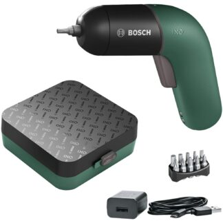 Bosch mini screwdriver set with box, bit set and a charger.
