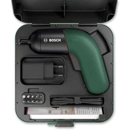 Bosch mini screwdriver set with box, bit set and a charger. Shown in the case.
