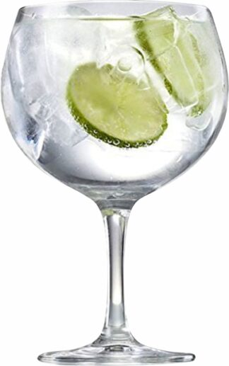 gin glass with cucumber and drink with ice