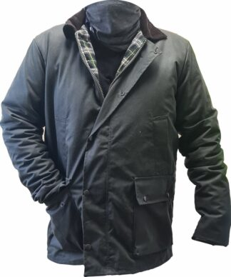 Wax jacket with tartan trim made in the UK