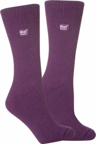 Womens heat holder purple short socks
