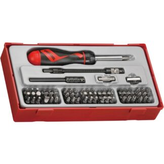 Teng Tools TTMD74 74 Piece Ratcheting Bits Driver Set displayed in a red tray for adding to the top box
